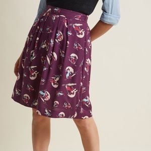 Modcloth Ski Print Retro Reverie A-Line Skirt